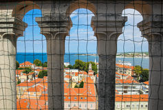 Zadar Croatia old town red roofs top view St. Donat church Royalty Free Stock Photos
