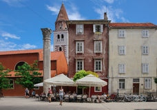Zadar Croatia old town, roman column and St. Simon (Sveti Simum) church Royalty Free Stock Images