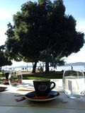 Zadar, Croatia, Riva, Bon apettit cafe, restaurant. Me among teasing locations to drink your morning coffee if you happen to be in town. Not only is coffee to my Royalty Free Stock Photography