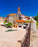 Zadar fem fyrkantiga brunnar och historisk arkitekturpanoramautsikt Arkivfoto