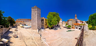 Zadar Five wells square and historic architecture panoramic view Stock Photos