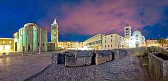 Zadar Forum square evening panorama Stock Images