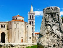 Historical centre in Zadar, St. Donatus church from Roman time. Zadar with historical buildings and stones Stock Photos
