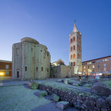 Zadar old city and ancient forum at dusk, Croatia Royalty Free Stock Photography