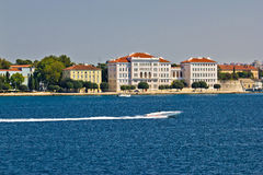 Zadar peninsula waterfront with powerboat Stock Photography