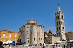 Zadar Roman Catholic Cathedral, Zadar, Croatia. The Zadar Roman Catholic Cathedral, the Cathedral of St. Anastasia, sometimes labelled the Church of St. Donatus stock photography