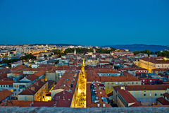 Zadar rooftops night aerial view Stock Photography