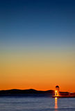 Zadar schronienia latarni morskiej kolorowy mroczny widok Zdjęcia Royalty Free
