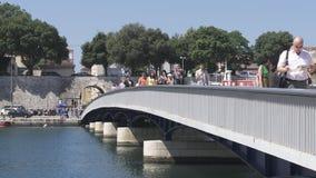 Zadar Sea Gate bridge stock video