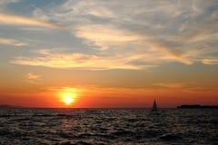 Zadar solnedgång 1 Arkivbilder
