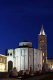 Zadar St Donatus Church 1. Night scene of Zadar's St Donatus Church and the ruins of the Roman Forum,  in the old town, Croatia Stock Photo