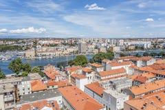 Zadar-Stadt vom Turm dalmatia kroatien lizenzfreie stockbilder