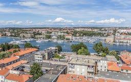 Zadar-Stadt vom Turm dalmatia kroatien lizenzfreies stockfoto