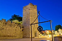 Zadar stone tower night view Stock Photography