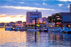 Zadar waterfront at golden sunset view Stock Photography