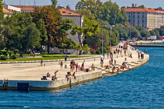 Zadar waterfront people on sea organs Royalty Free Stock Images