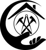 Zadaszać narzędzia, ręka, dacharz i zawodu logo, ilustracja wektor