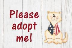 Zadawalam adoptuje ja tekst z Amerykańskim patriotycznym kotem fotografia stock