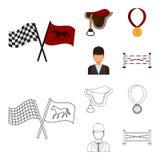 Zadel, medaille, kampioen, winnaar Renbaan en paard vastgestelde inzamelingspictogrammen in beeldverhaal, vector het symboolvoorr royalty-vrije illustratie