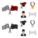Zadel, medaille, kampioen, winnaar Renbaan en paard vastgestelde inzamelingspictogrammen in beeldverhaal, zwart-wit stijl vectors vector illustratie