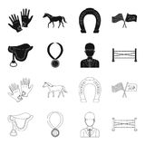 Zadel, medaille, kampioen, winnaar Renbaan en paard vastgestelde inzamelingspictogrammen in zwarte, vector het symboolvoorraad va royalty-vrije illustratie