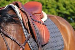 Zadel op een paard royalty-vrije stock fotografie