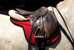 Zadel op horseback Royalty-vrije Stock Foto