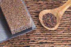 Zaden en graangewassenbar van zwarte quinoa - Chenopodium - quinoa Stock Afbeeldingen