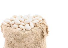 Zaden van bonen in een zak. Stock Foto