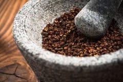Zaden van de Timut de sihuan peper in granietstamper of mortier stock afbeeldingen