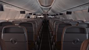 Zadka widoku samolotu pasa?erskiej kabiny nowo?ytni wielcy ludzie odpoczywaj? tv i ogl?daj? robi? lotowi zbiory wideo