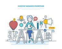 Zadowolona kierownik promocja Pracuje z dane, środki zadawala, miejsca, freelance royalty ilustracja