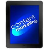 Zadowolona Marketingowa pastylka Komputerowy Mobilny Digital Zdjęcia Stock
