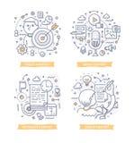 Zadowolone marketingu Doodle ilustracje ilustracji