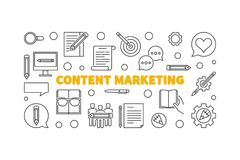 Zadowolonego Marketingowego wektor linii pojęcia horyzontalny sztandar ilustracji