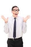 Zadowolony facet zakrywający w pomadka buziakach Fotografia Royalty Free