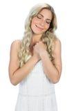 Zadowolony kędzierzawy z włosami blondynki marzyć Zdjęcia Stock