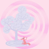 Zadowolony lis pod drzewem życie doodle ilustracji