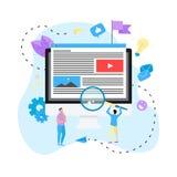 Zadowolony marketing, Blogging i SMM pojęcie, Artykuły i środków materiały na desktop ilustracja wektor
