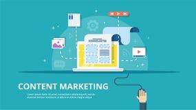 Zadowolony zarządzanie, SMM i Blogging pojęcie w płaskim projekcie, Tworzyć, wprowadzać na rynek i dzielić cyfrowy - wektor ilustracja wektor