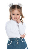 Zadumana ładna preschool dziewczyna fotografia royalty free