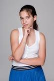 Zadumana dosyć nastoletnia dziewczyna fotografia royalty free