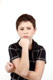 Zadumana młoda chłopiec odizolowywająca na białym tle Obrazy Stock