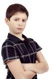 Zadumana młoda chłopiec odizolowywająca na białym tle Fotografia Royalty Free