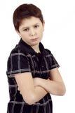 Zadumana młoda chłopiec odizolowywająca na białym tle Obrazy Royalty Free