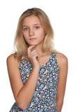 Zadumana nastoletnia dziewczyna Zdjęcia Royalty Free