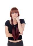 Zadumana nastoletnia dziewczyna ubierał w czerni z przebijaniem Zdjęcie Royalty Free