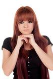 Zadumana nastoletnia dziewczyna ubierał w czerni z przebijaniem Zdjęcia Stock