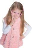 Zadumana preschool dziewczyna w szkłach Zdjęcia Royalty Free