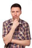 Zadumany mężczyzna w szkockiej kraty koszula Zdjęcie Stock